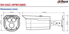 Dimensiuni Dahua HAC-HFW1200D