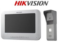"Kit videointerfon analogic 7"", camera Pinhole, conectare 4 fire HIKVISION DS-KIS203"
