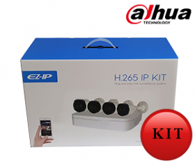 Sistem supraveghere video, 4 camere IP PoE, Bullet de exterior, Dahua