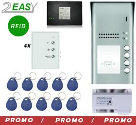 Kit interfon audio pe 2 fire cu control acces RFID, 2Easy DT607ID-DJ7A