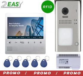 Kit videointerfon color 2 fire cu control acces RFID, 2Easy DT607ID-DT472