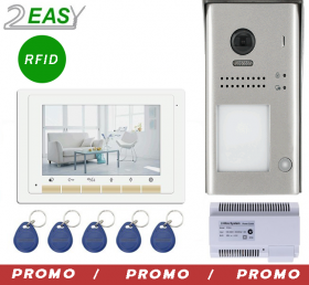Kit videointerfon color 2 fire cu control acces RFID, 2Easy DT607ID-DT17