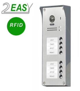 Post exterior videointerfon pe 2 fire cu 8 butoane de apel, RFID si lentila Fisheye DT608-ID-S8-FE
