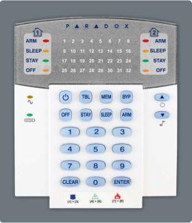 Tastatura LED, radio, 32 zone, Paradox, K32W