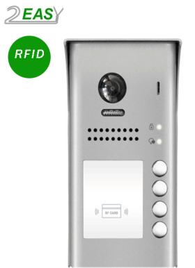 Post exterior videointerfon cu 4 butoane de apel si RFID, 2Easy DT607-ID-S4