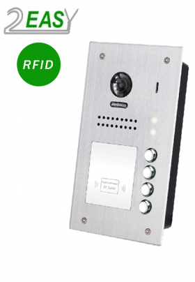 Post exterior videointerfon pe 2 fire cu 4 butoane de apel si RFID, 2Easy DT607F-ID-S4