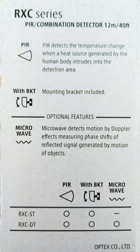 Detector de miscare PIR cu suport, detectie 12mx12m, 85 grade OPTEX